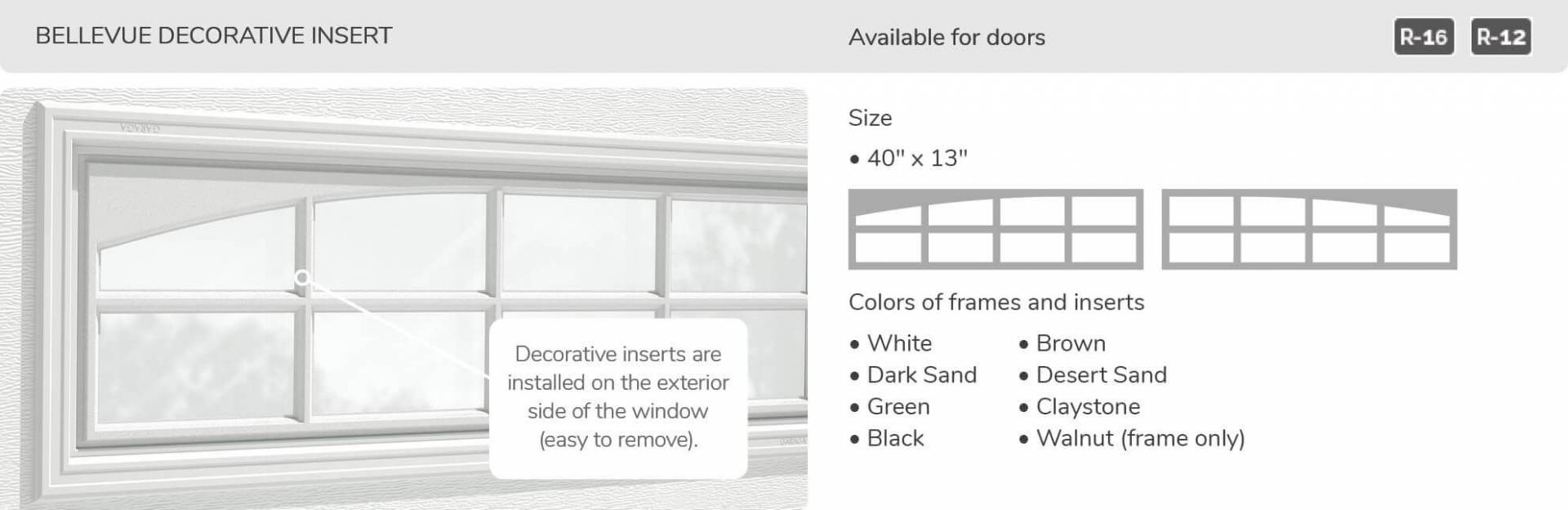 Bellevue Decorative Insert, 40' x 13', available for doors R-16 and R-12