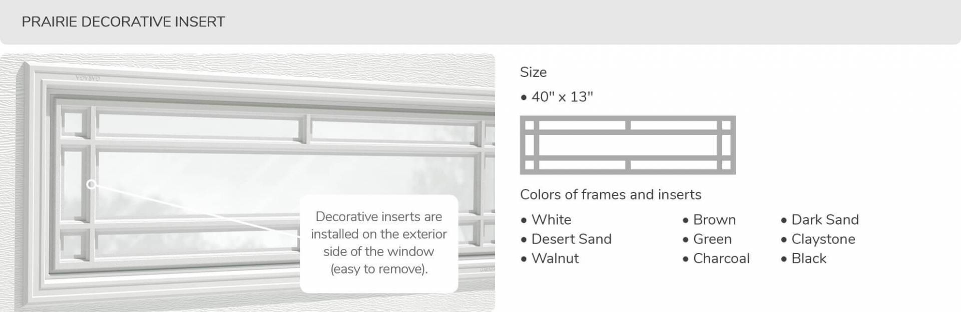 Prairie Decorative Inserts, 40' x 13', available for door R-16